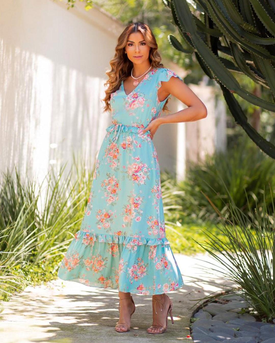 Vestido Maxi Midi Soltinho Estampa Floral Milalai Ariane