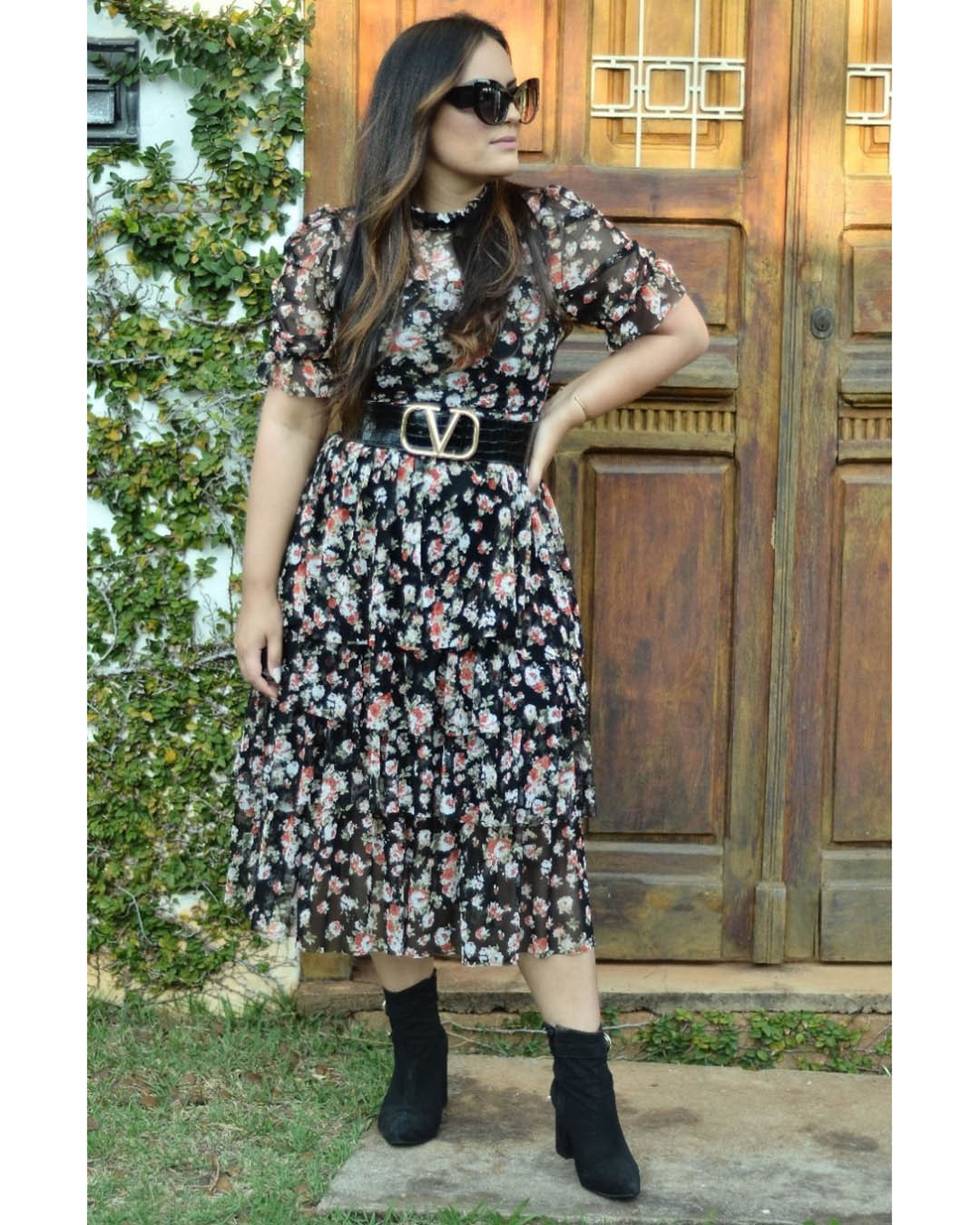 Vestido Maxi Midi Tule Floral Preto Godê Camadas Az Irmãs
