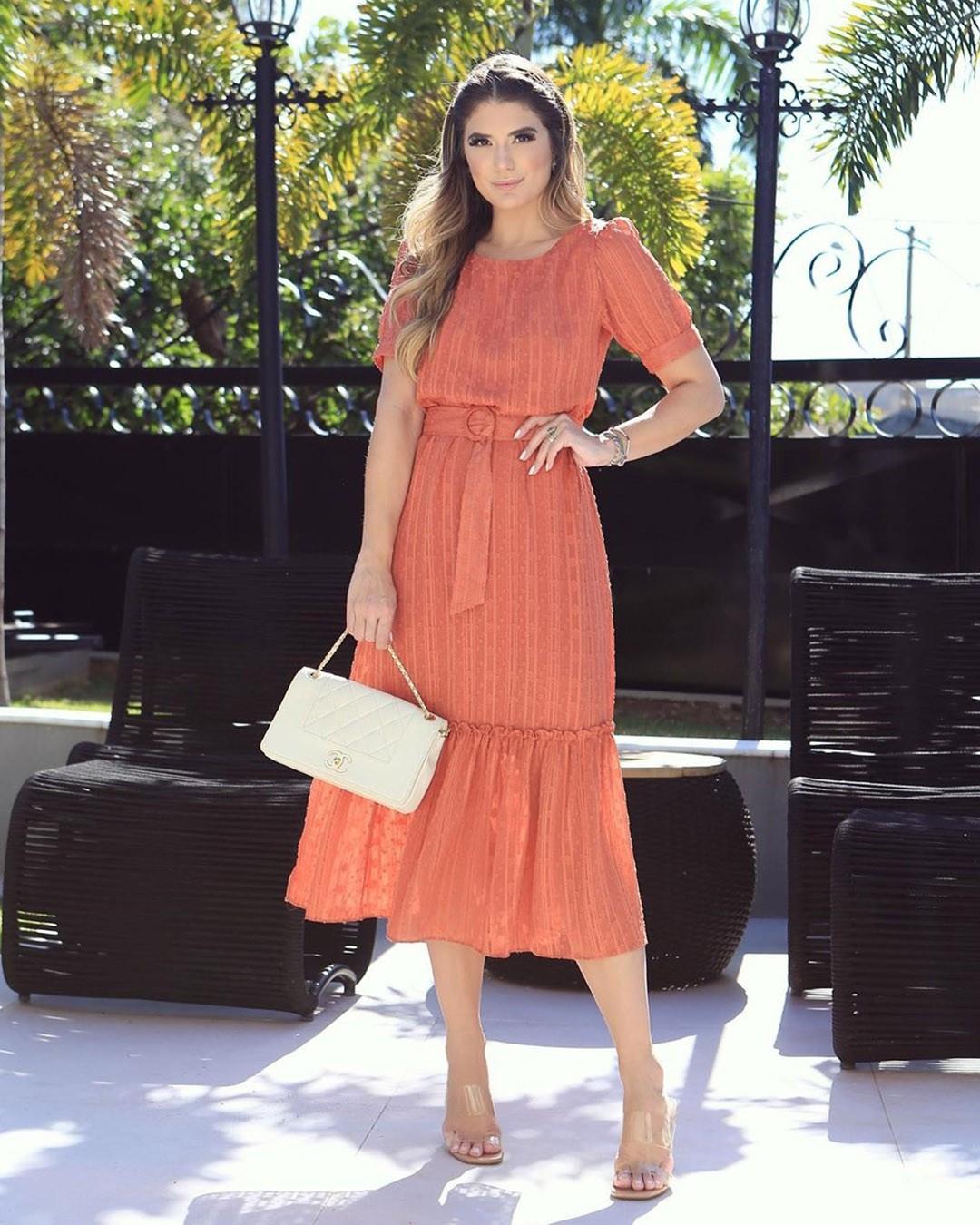 Vestido Midi Chiffon Devorê Doce Flor Moda Evangélica Ariane