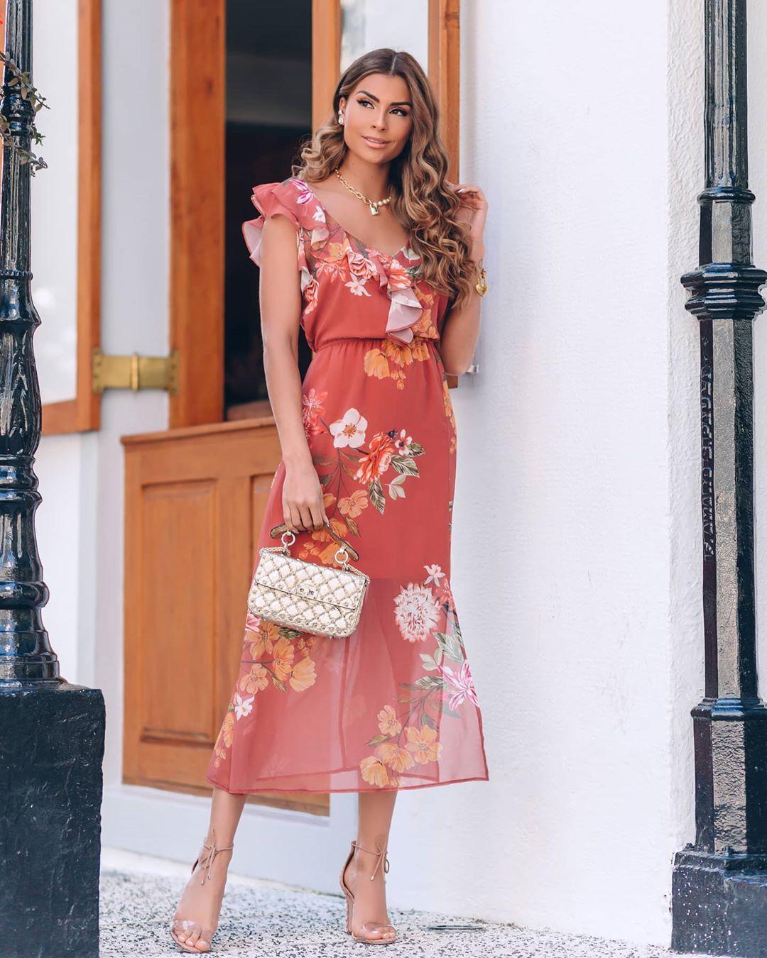 Vestido Midi Chiffon Floral com Jabots e Docote V Doce Flor