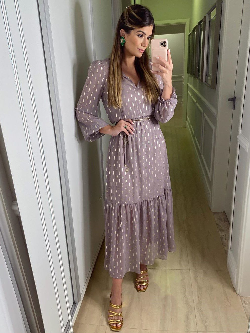 Vestido Midi Chiffon Fluido Manga Longa Nanaminze Ariane Cânovas