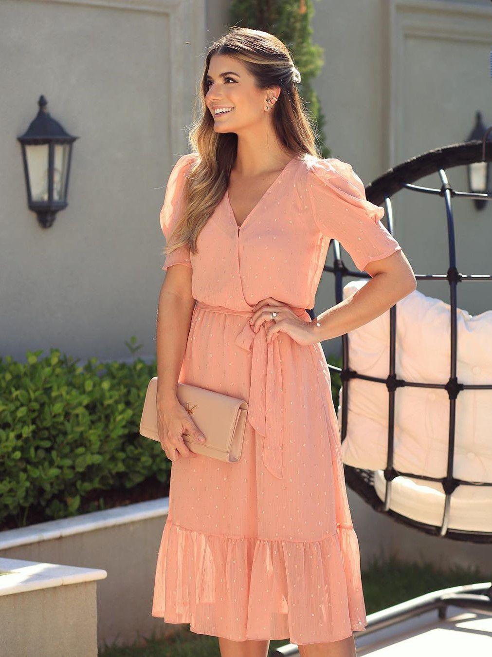 Vestido Midi Chiffon Transpassado Doce Flor Moda Festa Ariane