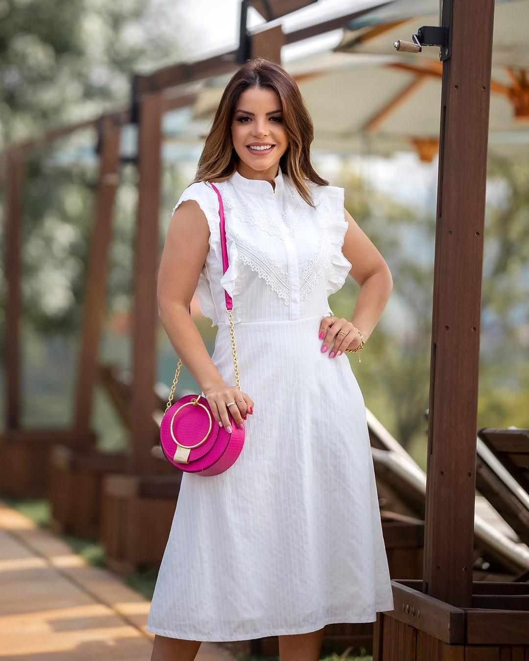 Vestido Midi Evasê Babados e Renda Az Irmãs Paola Santana