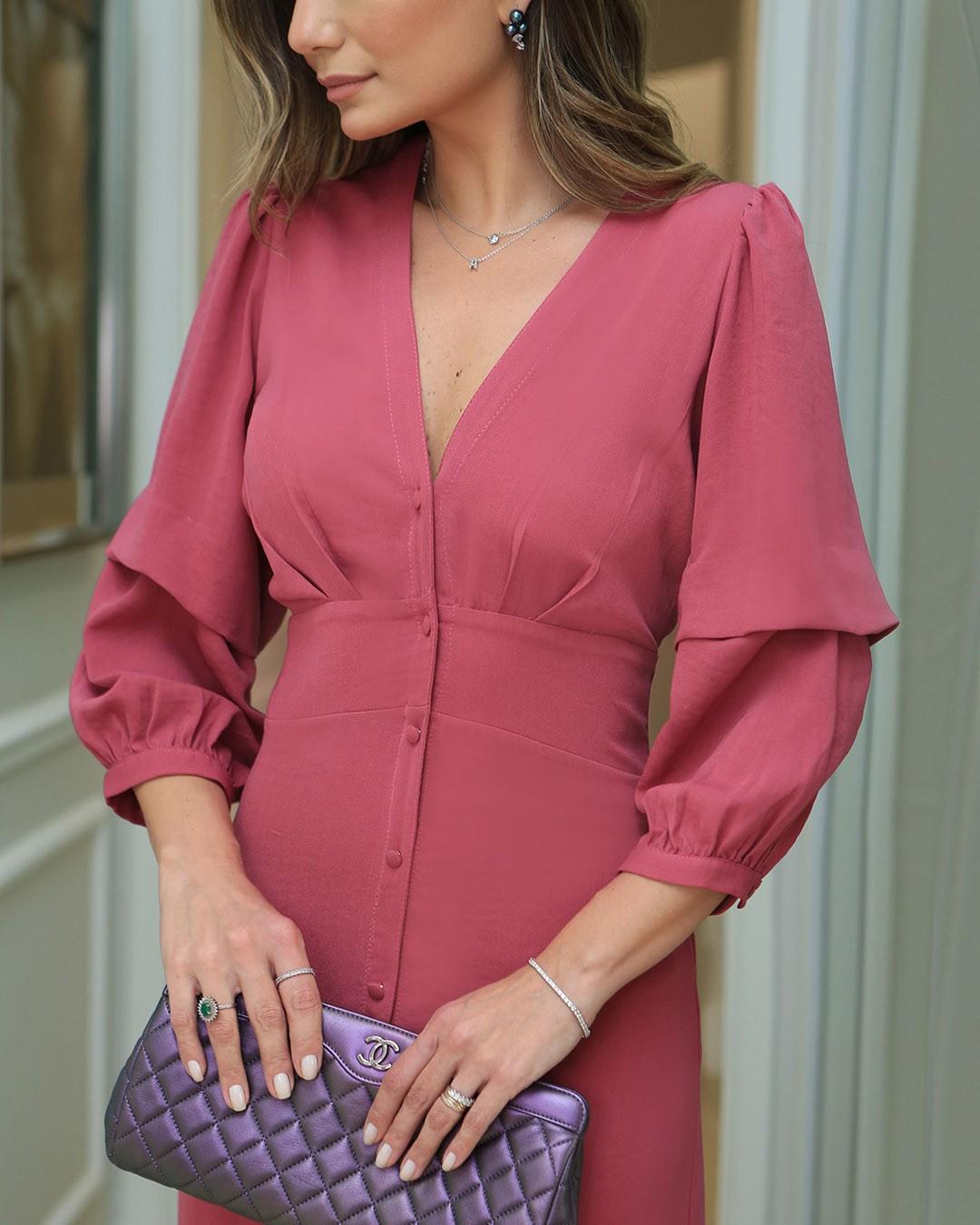 Vestido Midi Evasê com Botões e Decote V Unique Chic Ariane
