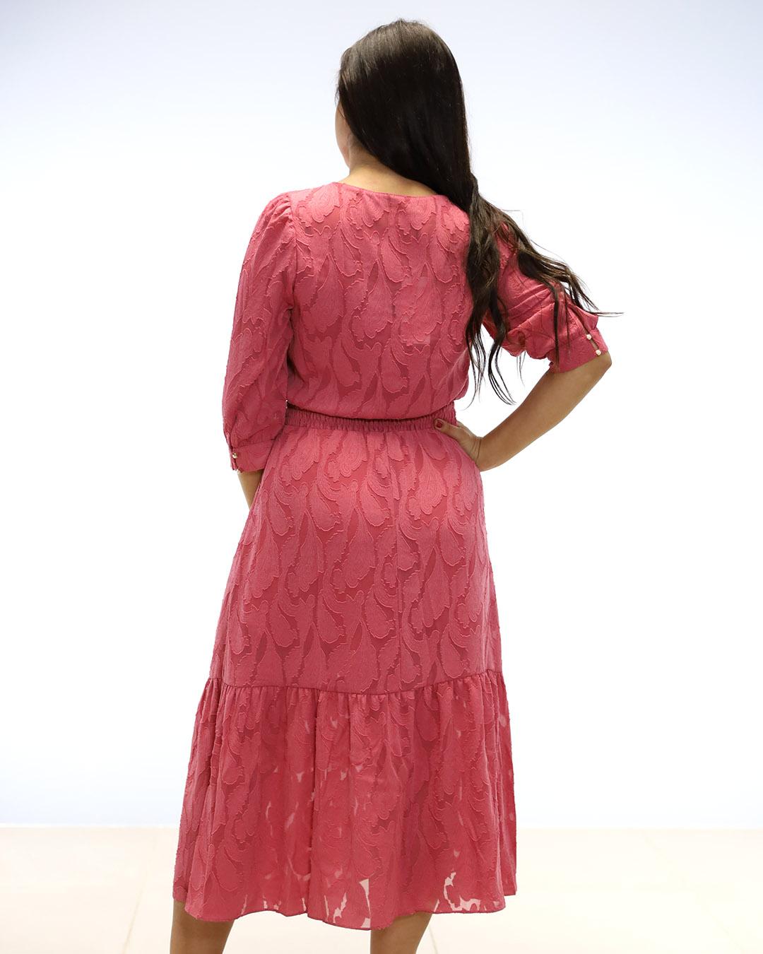 Vestido Midi Evasê Decote Transpassado Doce Flor Ariane