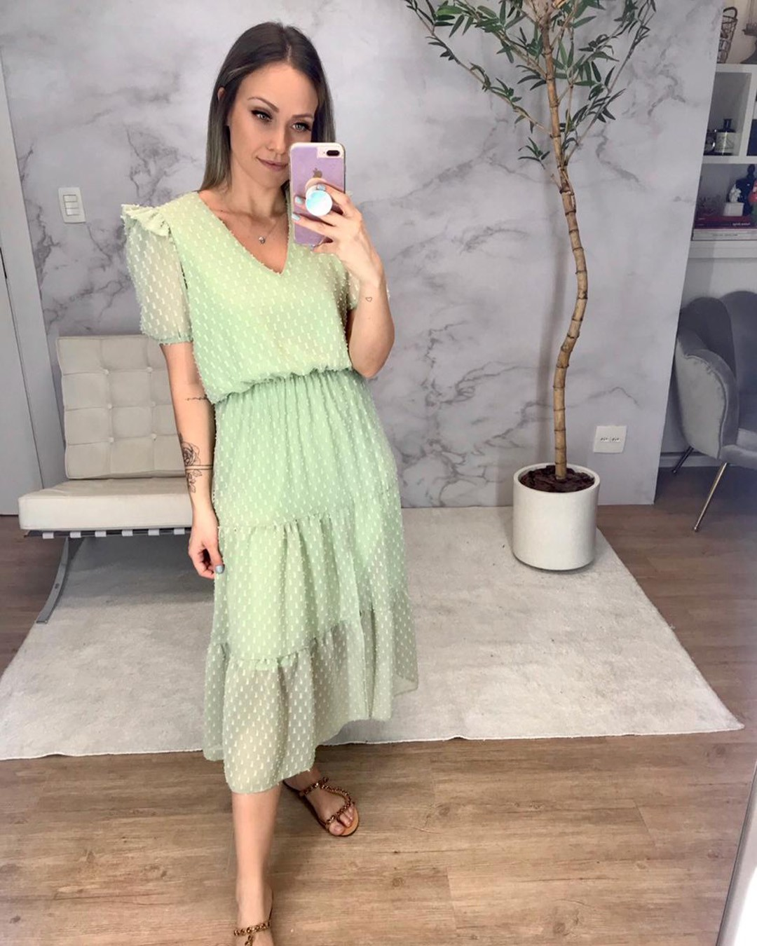 Vestido Midi Evasê em Chiffon Devorê Donna Ritz Ariane
