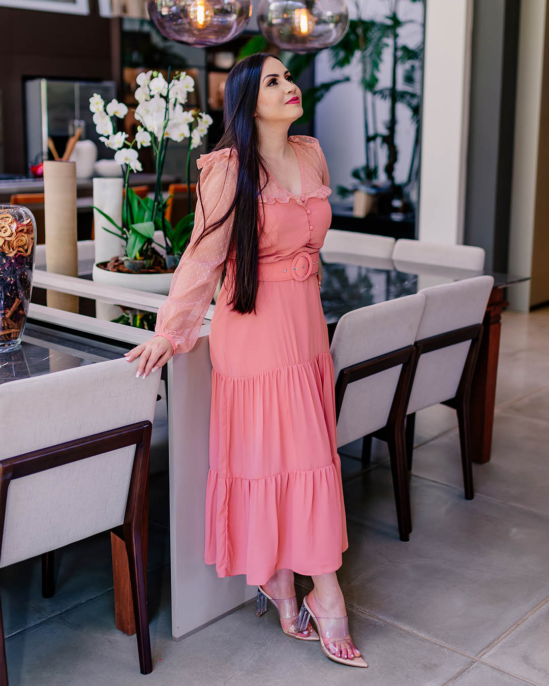 Vestido Midi Evasê Manga Longa com Tule Poá Milalai Rosê