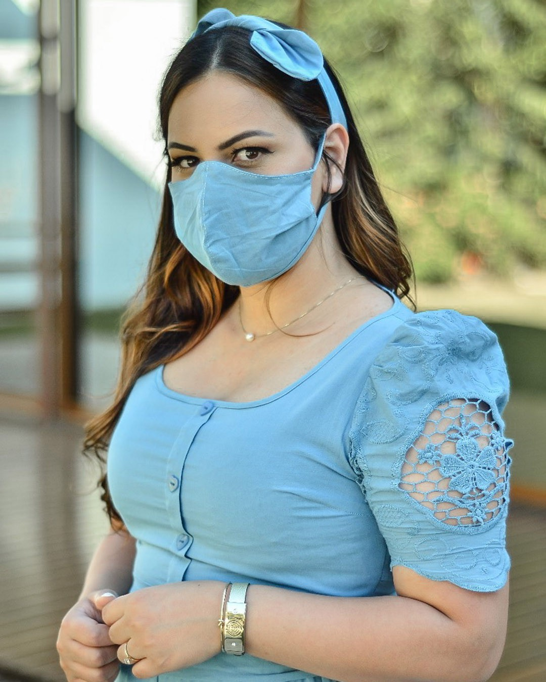 Vestido Midi Godê em Laise Cor Azul Az Irmãs Moda Evangélica