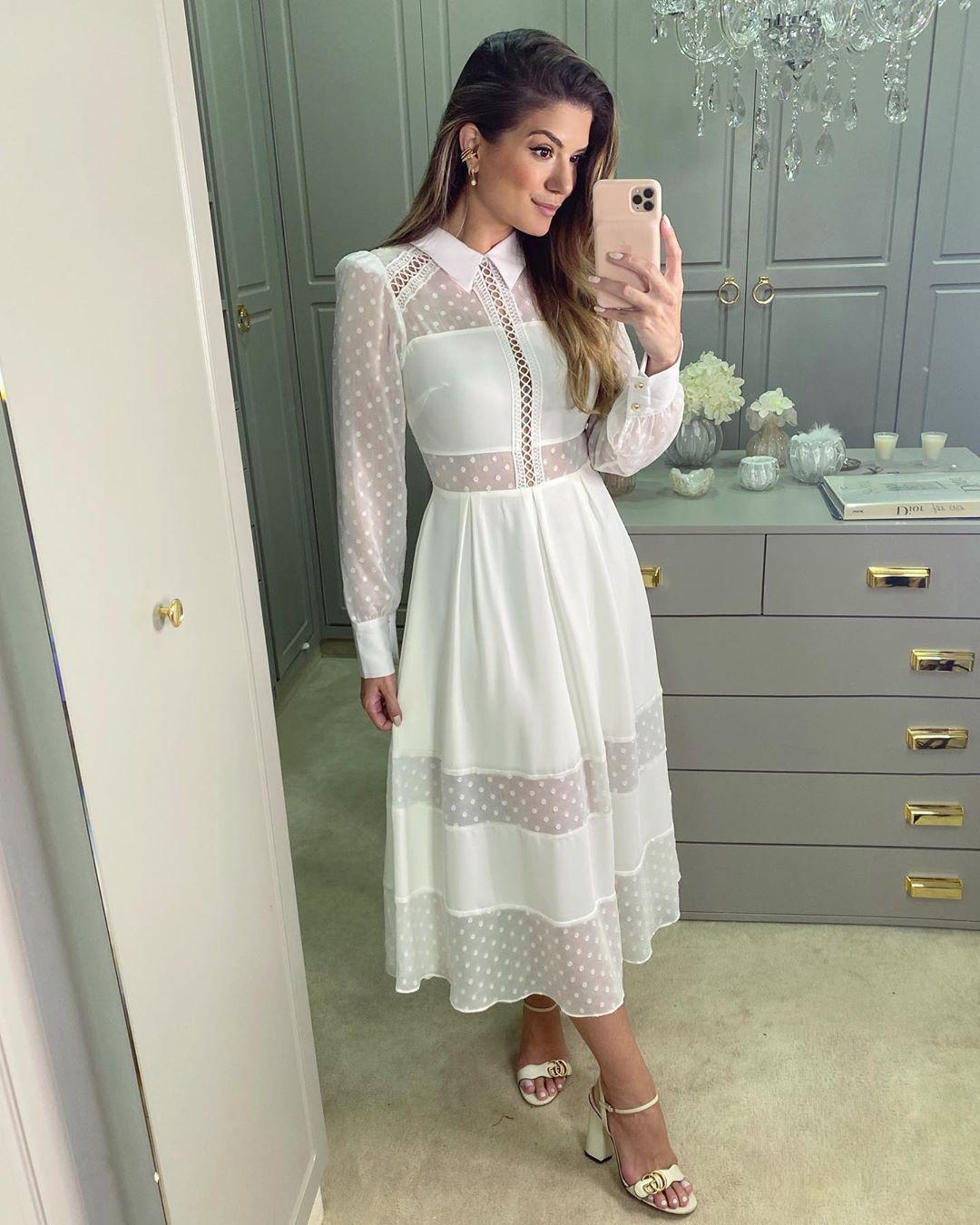 Vestido Midi Lady Like Branco Casamento Civil Lou Bucca Ariane