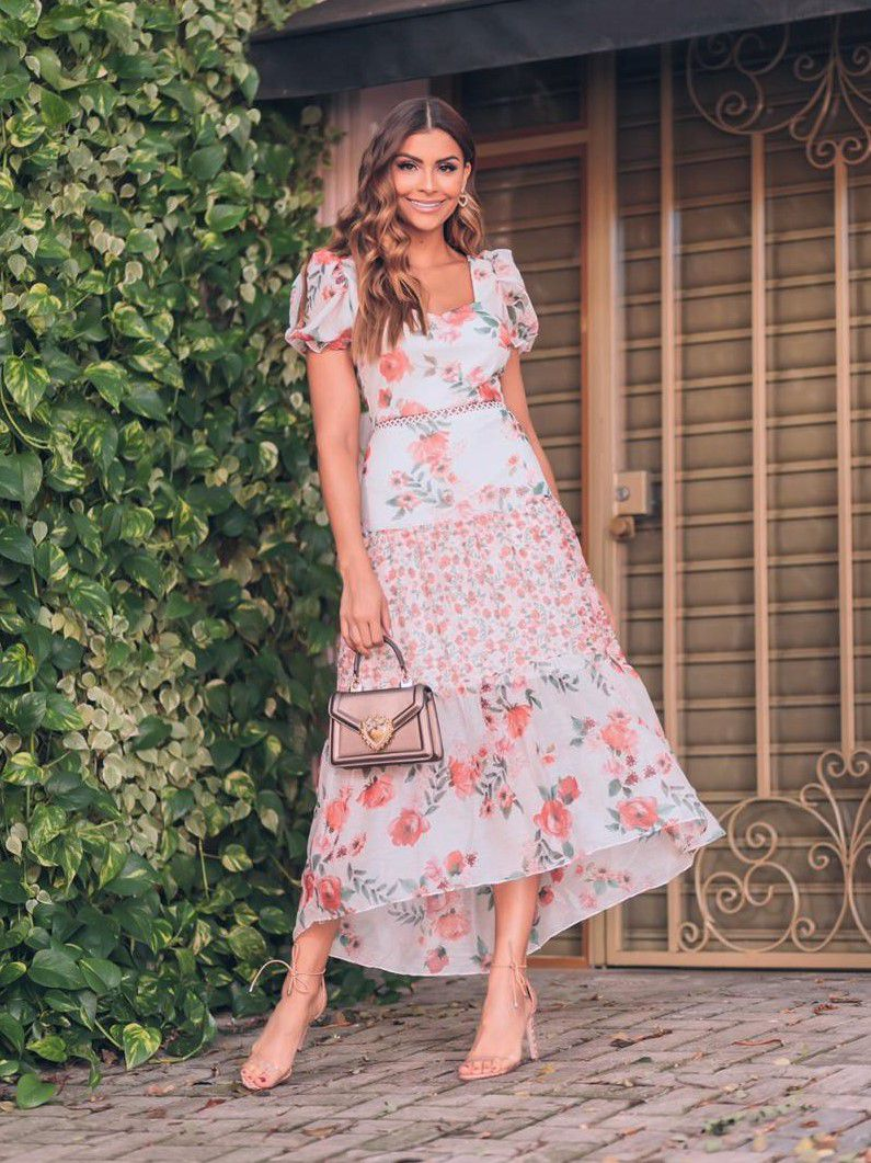 Vestido Midi Mullet Chiffon Floral Romântico Manga Bufante Milalai