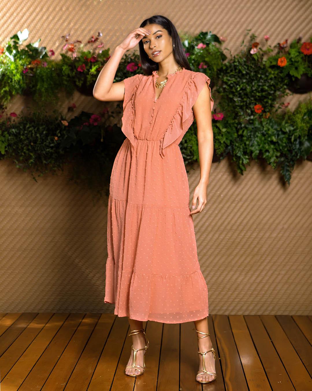 Vestido Midi Soltinho Chiffon Poá Unique Chic Ariane