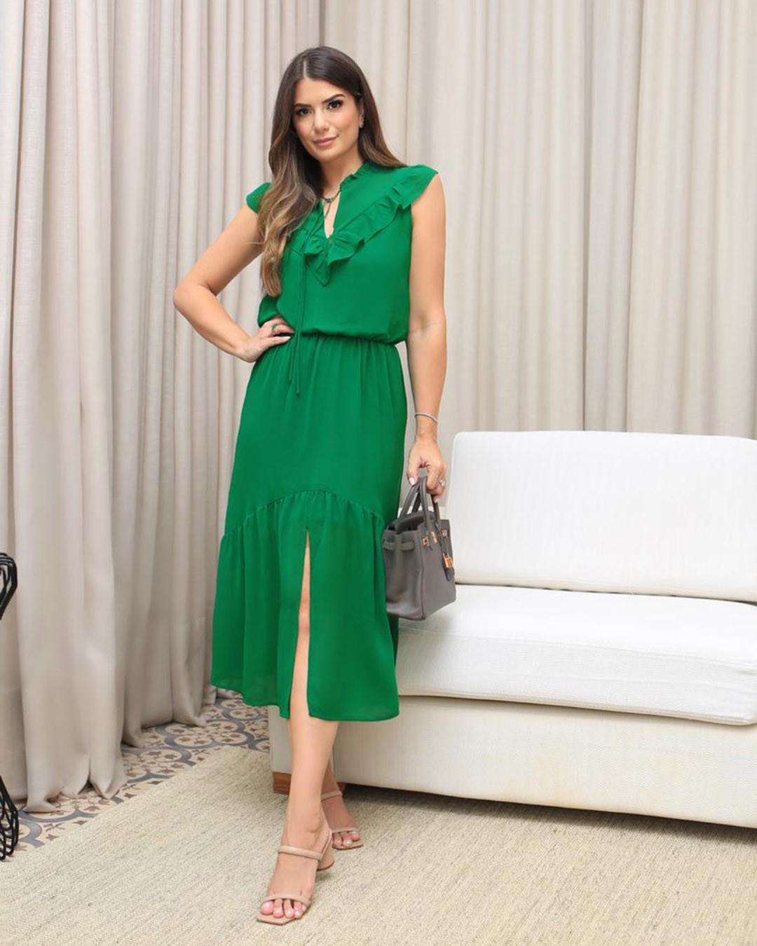 Vestido Midi Soltinho em Chiffon Donna Ritz Ariane