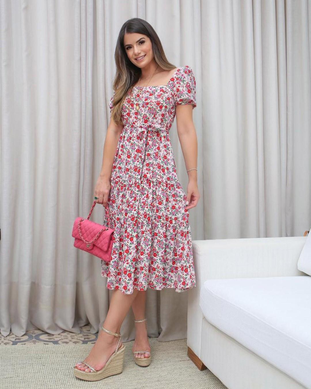 Vestido Midi Soltinho Estampa Floral Donna Ritz Ariane