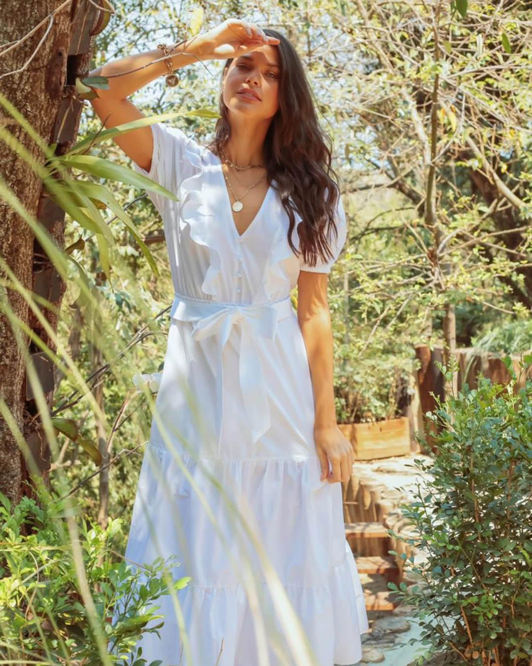 Vestido Midi Soltinho Tricoline com Marias Decote V Milalai