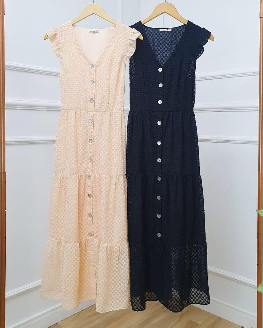 Vestido Midi Três Marias Chiffon Devorê Decote V Milalai