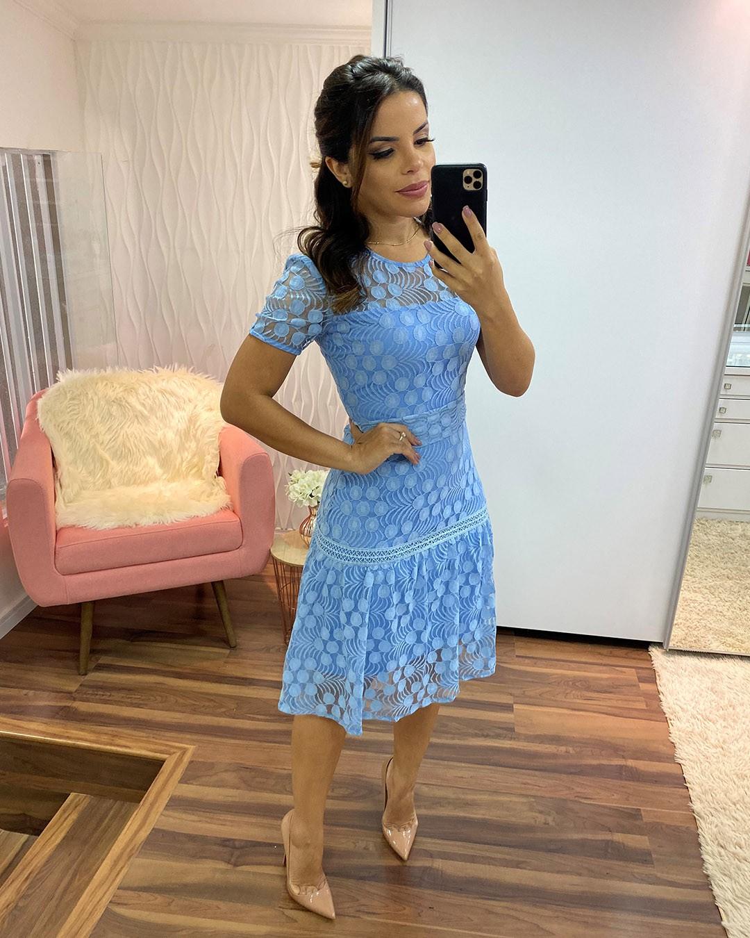 Vestido Midi Tule Poá Azul Plus Size Az Irmãs