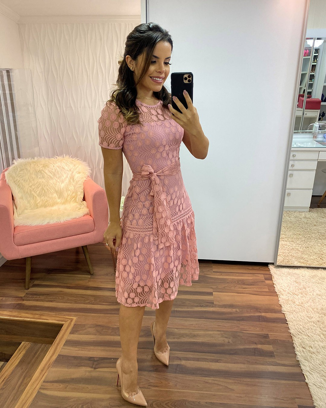 Vestido Midi Tule Poá Rosa e Plus Size Az Irmãs