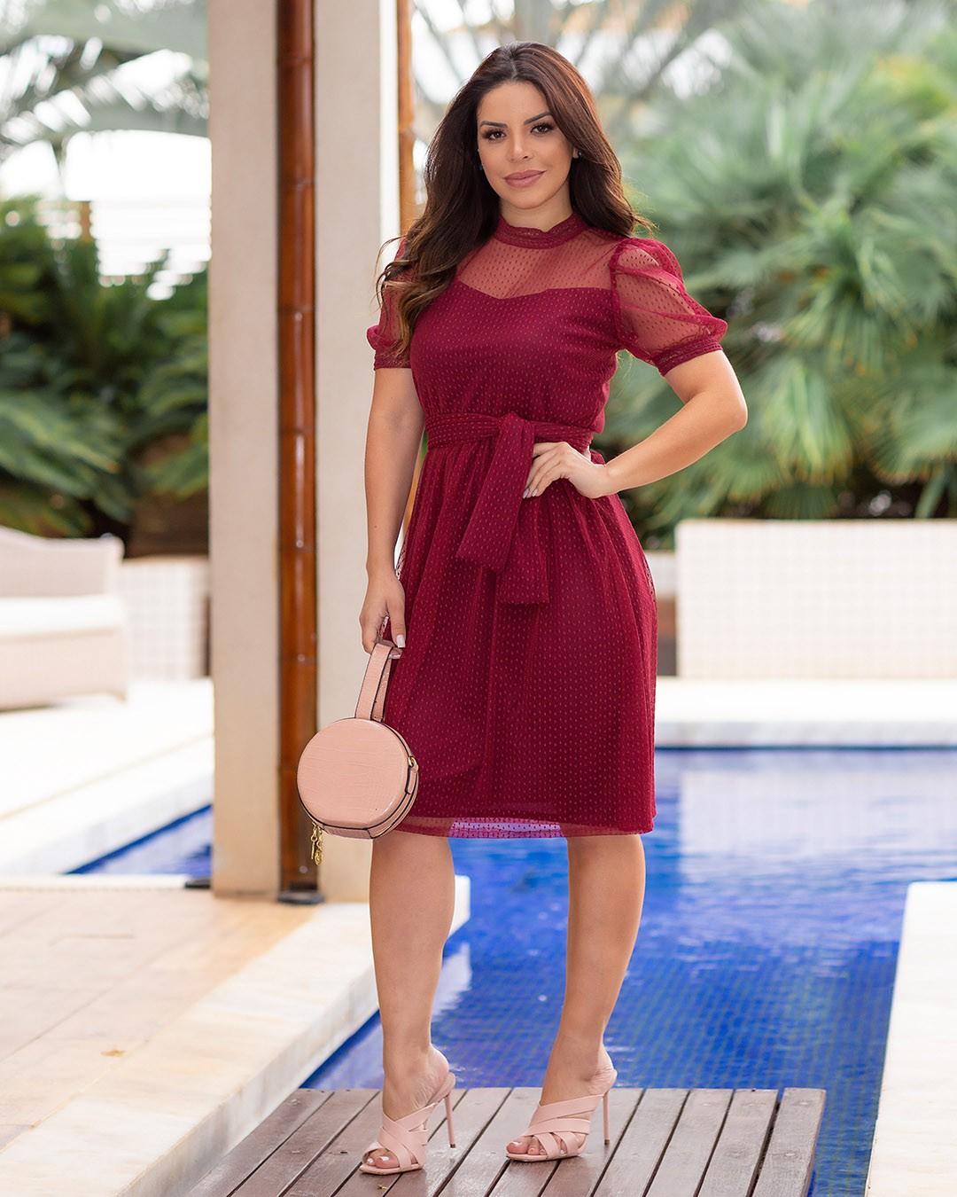 Vestido Soltinho Tule Mini Poá Marsala Az Irmãs Paola Santana