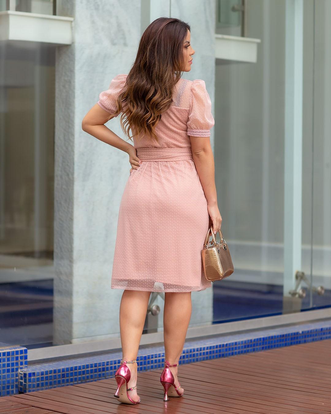 Vestido Soltinho Tule Mini Poá Rosê Az Irmãs Paola Santana