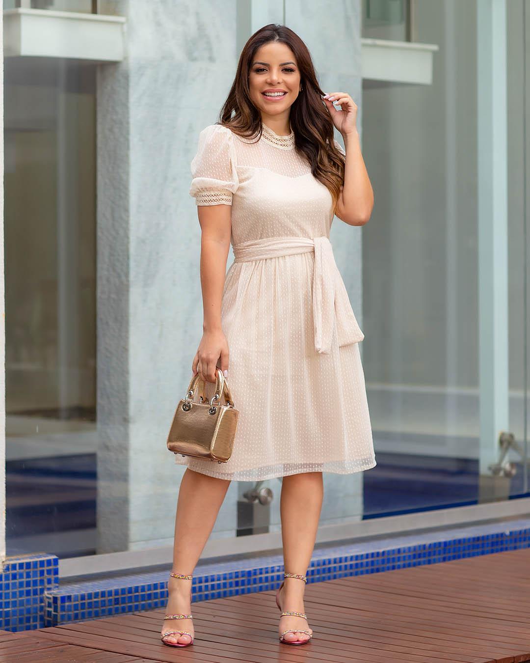Vestido Tule Mini Poá Creme Az Irmãs Paola Casamento Civil