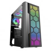 GABINETE GAMER K-MEX ATX/ATX/ITX SEM FONTE MULTIVERSO CG-02TT PRETO /RGB