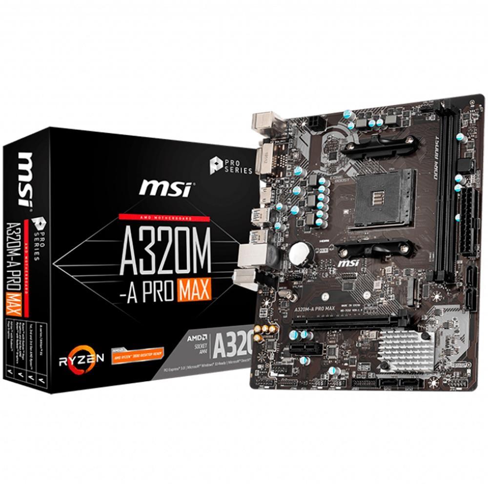 PLACA MÃE AMD AM4 MSI A320M-A PRO MAX HDMI/DVI/USB3.2/LAN/SOM/DDR4