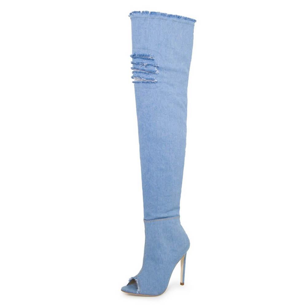 Bota Over The Knee Feminina Jeans Cano Longo Azul Claro