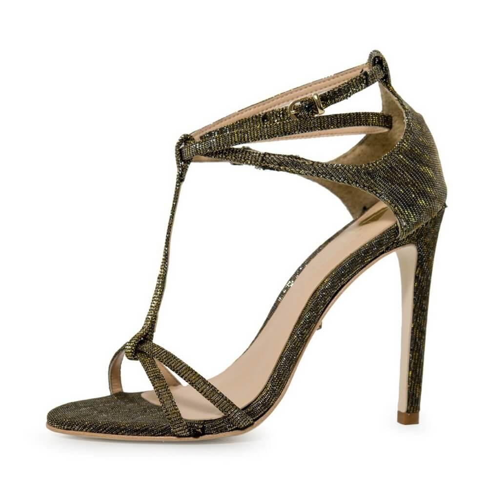 Sandália Feminina Casual Salto Alto Tecido Glitter Prata Ouro