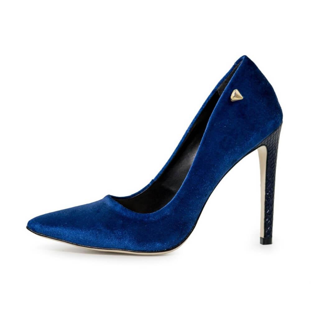 Scarpin Feminino Casual Salto Fino Alto Confortável Veludo Azul