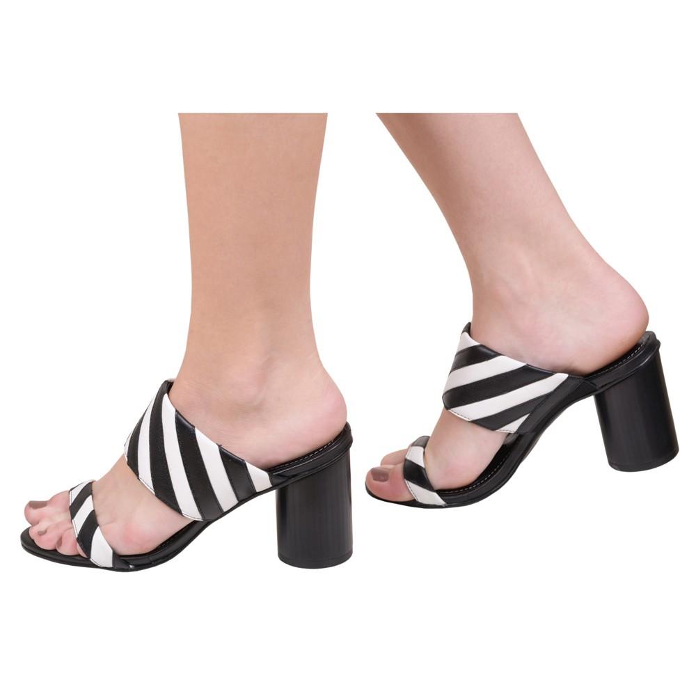 Tamanco Feminino Casual Salto Grosso Confortável Listrado Preto e Branco