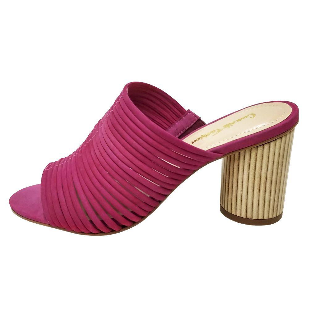 Tamanco Feminino Casual Salto Grosso Confortável Nobuck Pink