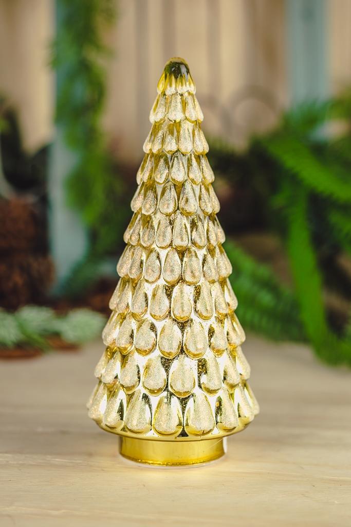 Árvore Decorativa Dourada c/ Led 27cm
