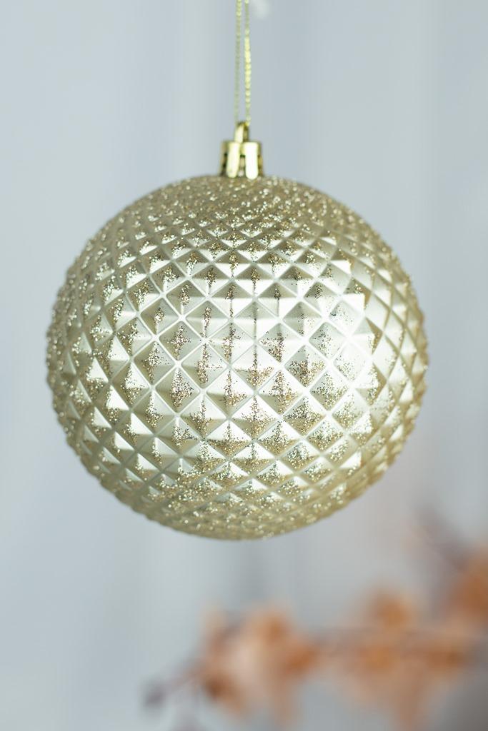 Bola Decorada Dourado 10cm - 3pçs