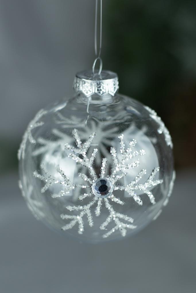 Bola Decorada Floco de Neve  - 3pçs