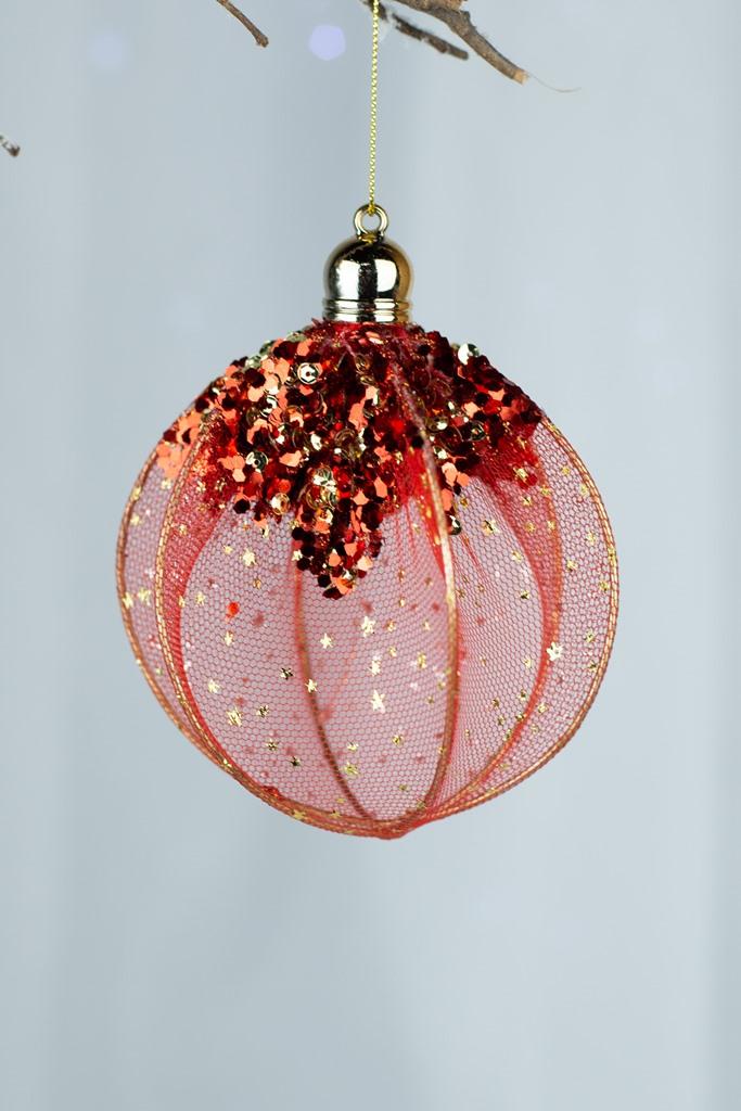 Bola  Decorada Vermelho 10cm  - 3pçs