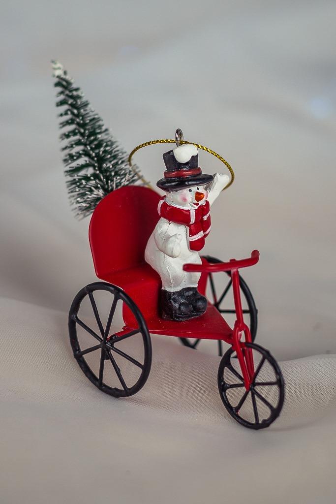 Boneco de Neve Triciclo Decorativo