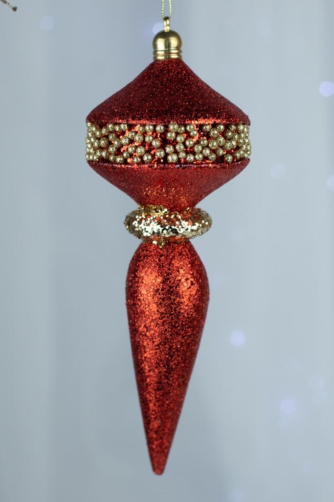 Kit 3pçs - Pendente Decorativo Vermelho 22cm
