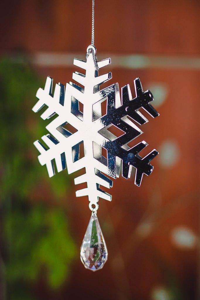Kit 3pçs - Pendente Floco de Neve Prata 18cm