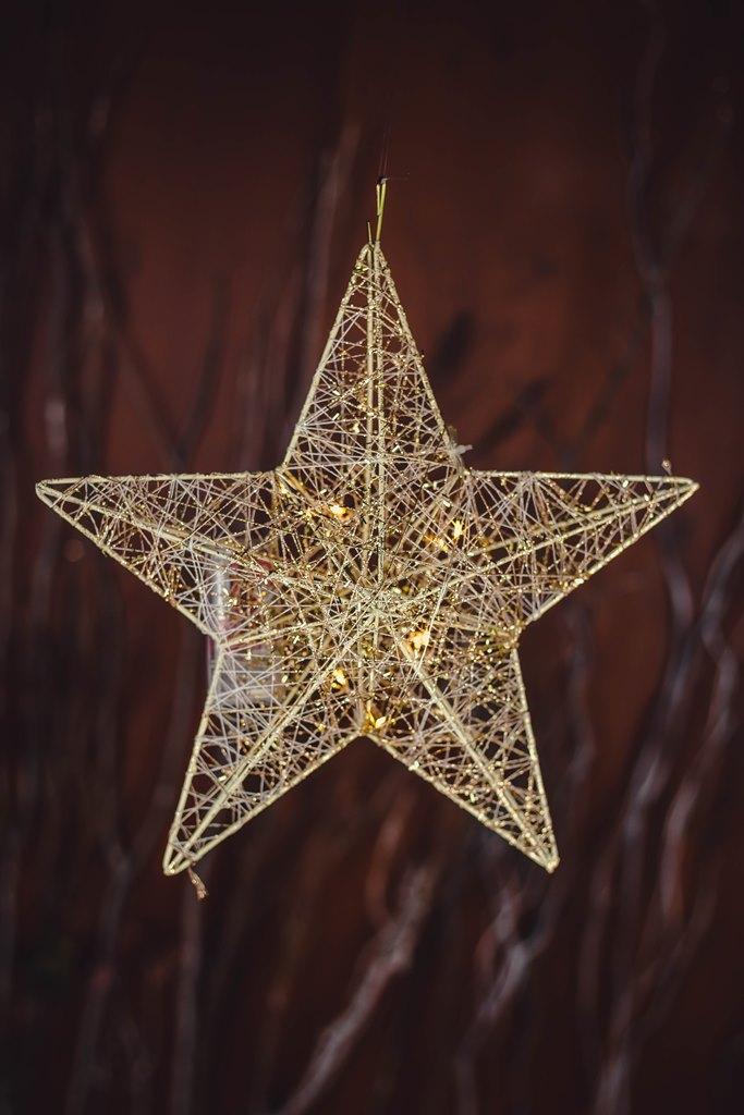 Pendente Estrela Decorativa c/Led - 2AA