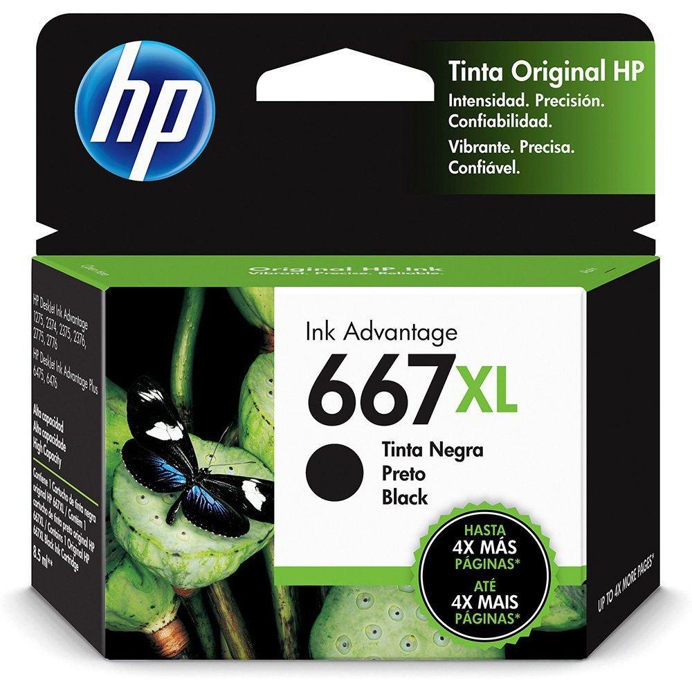 CARTUCHO DE TINTA HP 667 XL PRETO ORIGINAL [ 2376, 2776, 6476 ]