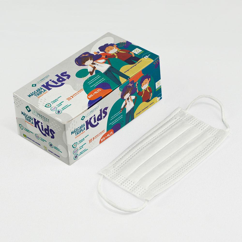 Kit C/ 10 Caixas de Máscaras Cirúrgicas Triplas Descartável Infantil C/ Anvisa Branca (Caixa c/ 20 unidades)