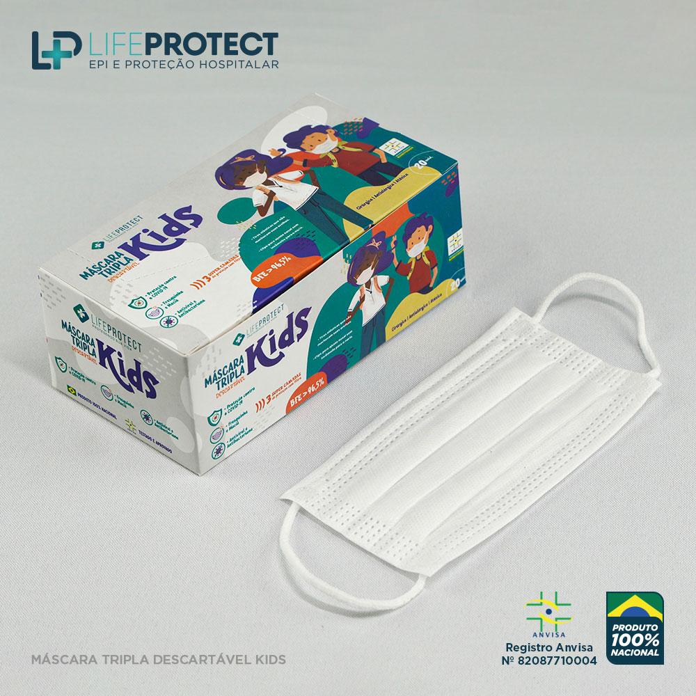 Kit C/ 24 Caixas de Máscaras Cirúrgicas Triplas Descartável Infantil C/ Anvisa Branca (Caixa c/ 20 unidades)
