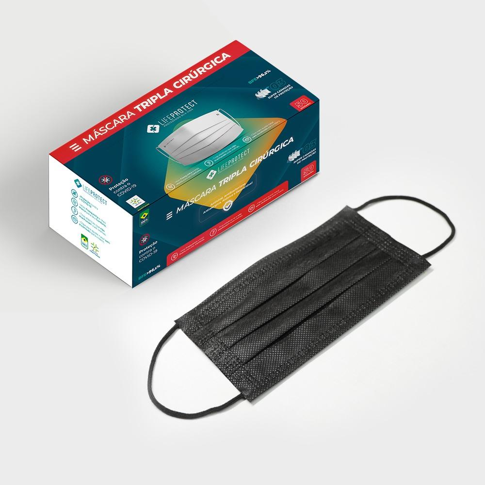 Kit Com 10 Caixas de Máscaras Cirúrgicas Triplas Descartável C/ Anvisa - Preto (Caixa c/ 50 unidades)