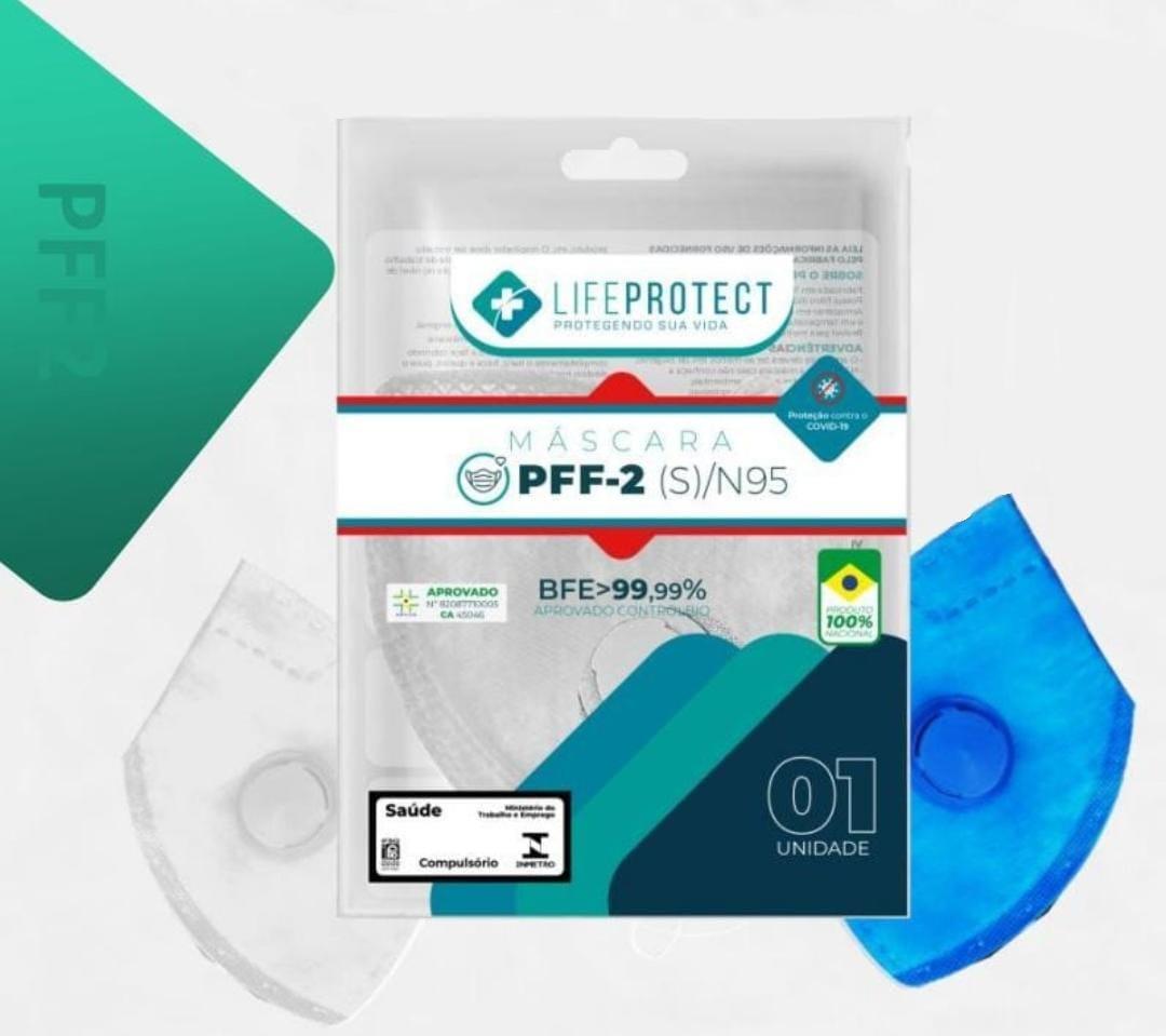 Máscara de Proteção Hospitalar PFF2 / N95 Com Válvula - Azul