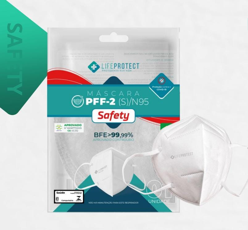 Máscara de Proteção PFF2 / N95 SAFETY Branca  Kit C/ 50 Unidades