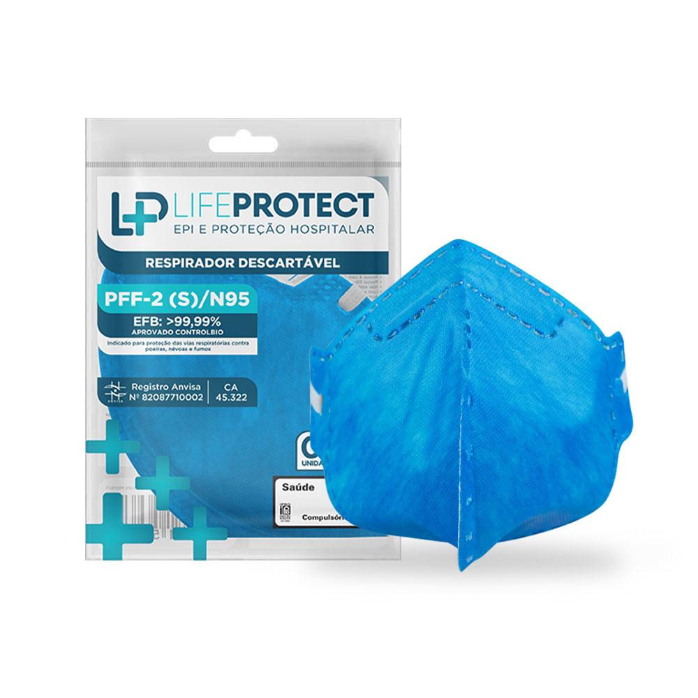 Máscara de Proteção Hospitalar PFF2 / N95 Sem Válvula Azul Kit C/ 100 Unidades