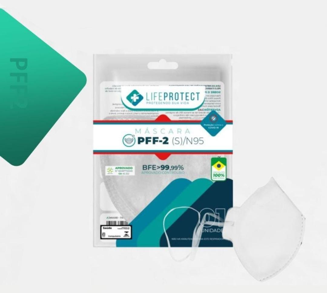 Máscara de Proteção PFF2 / N95 Sem Válvula Branca Kit C/ 10 Unidades