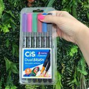 Cis Dual Brush Aquarelável - Kit com 6 cores