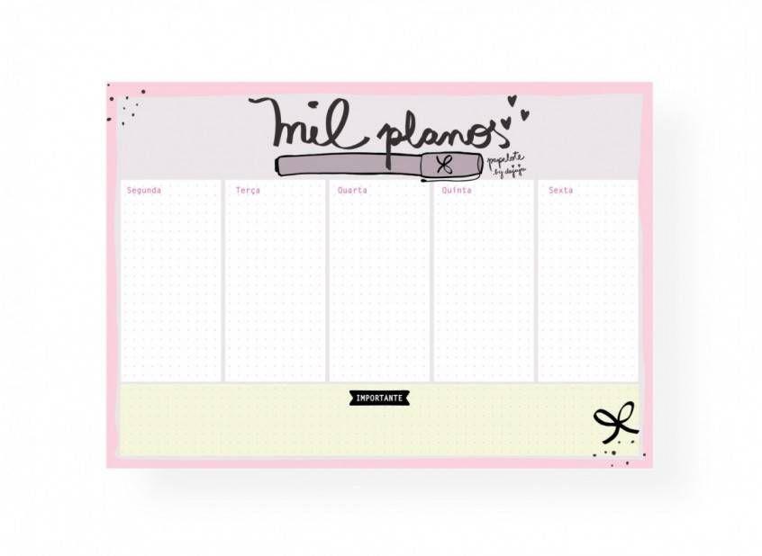 Bloco Planner Semanal - Mil Planos