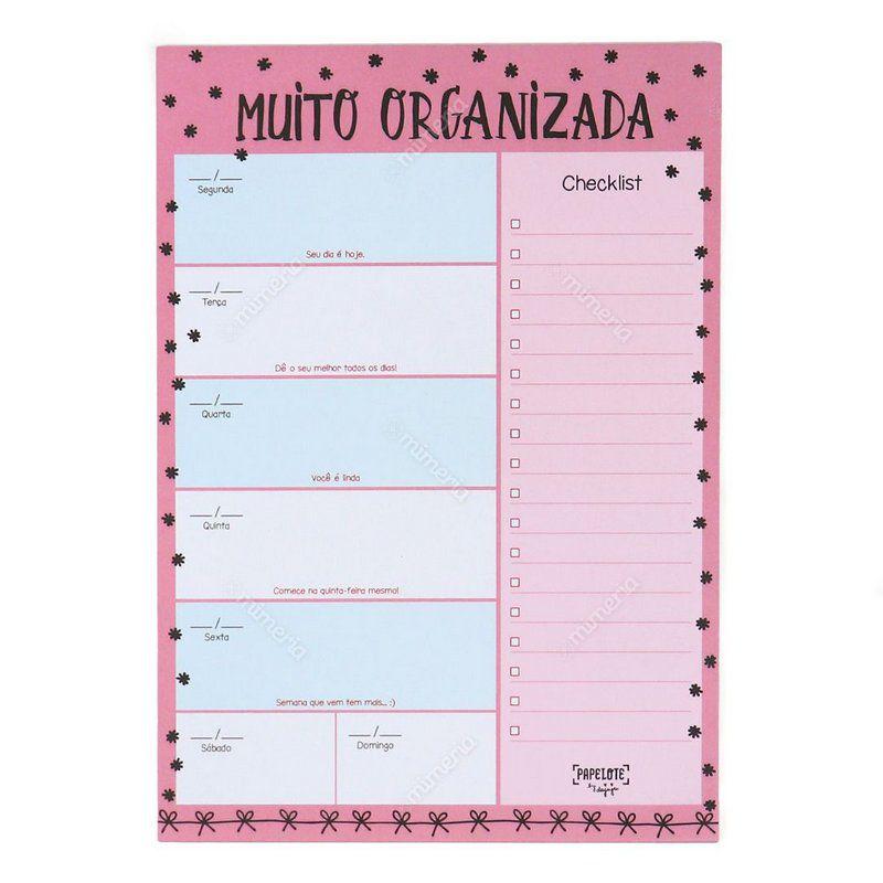 Bloco Planner Semanal - Muito Organizada